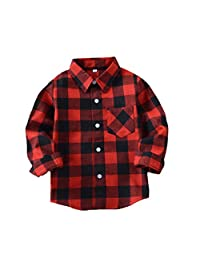 Tortor 1bacha Kid Girl Boy Long Sleeve Button Down Plaid Flannel Shirt