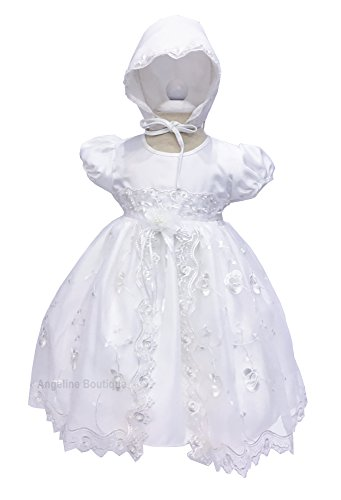 Angeline Baby Girls Christening Dress Baptism Dedication White Gown 1799C 12-18M (#9) (Americana Bead)