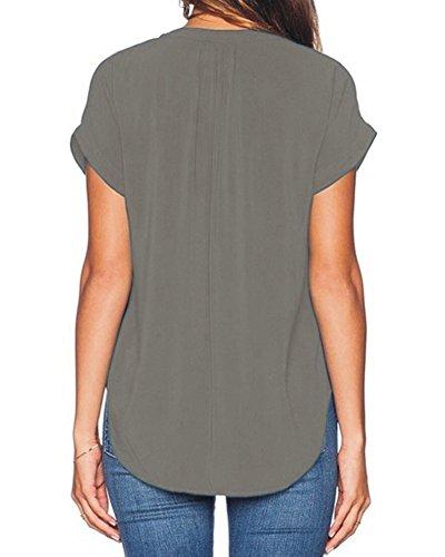Casual en Court Lache Manches Femmes Tops Gris Shirt PengGeng Mousseline Blouse c4WHAPF
