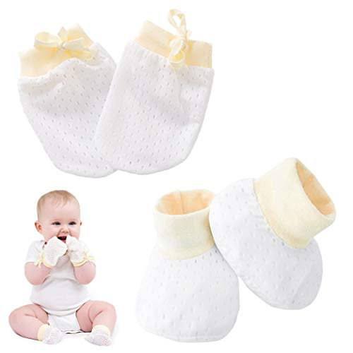(Kalevel Newborn Socks Cotton Baby Mittens Booties Gloves for Boy Girl 0-6 Month (Yellow) )