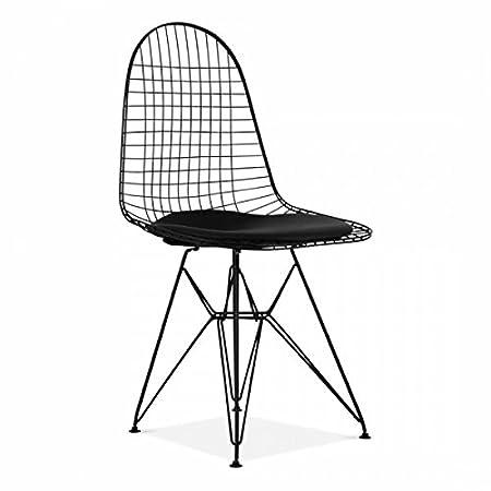 Charles Eames Silla con patas Eiffel alambre Negro y Cojín ...