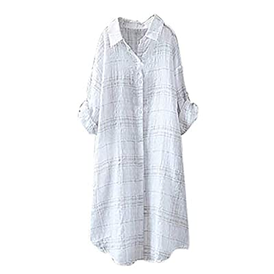 Linen Blouses for Women ? Plus Size Plaid Black White Tops Comfy Linen Casual Loose Shirts Womens Summer Beach Cover-ups