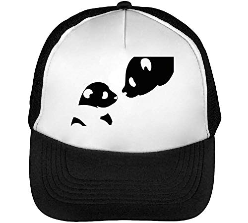 1GD Panda Bears Gorras Hombre Snapback Beisbol Negro Blanco