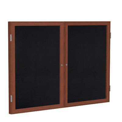 2 Door Enclosed Bulletin Board Size: 3' H x 4' W, Surface Color: Black, Frame Finish: Cherry by Ghent