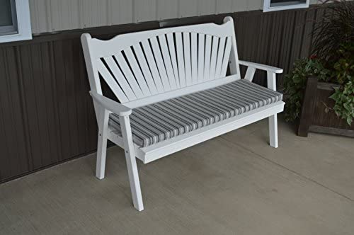 Classic Outdoor 5 Foot Fanback Garden Bench – Painted- Amish Made USA -White