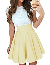 Elevesee Women's Lace A-line Sleeveless Pleated Cocktail Party Skater Skirt Dress