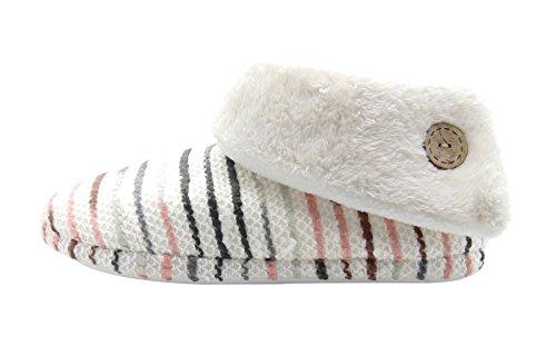 Unisex Indoor Bootie Slippers Stripe Warm Fur Mules Shoes Cream Jd2stGbU