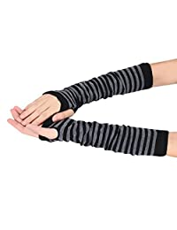 Changeshopping Winter Wrist Arm Hand Warmer Knitted Long Fingerless Gloves Mitten (Black)