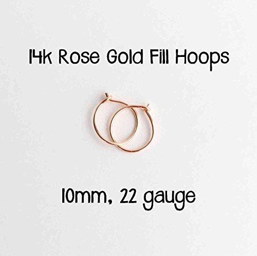 14k Rose Gold Fill Hoop Earrings 10mm, 22 gauge