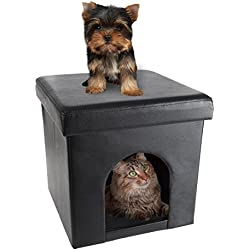 PETMAKER Pet House Ottoman- Collapsible Multipurpose Cat or Small Dog Bed Cube and Footrest with Cushion Top and Interior Pillow by (Faux Leather)