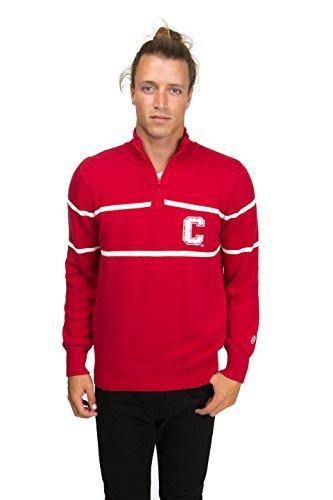 Alma Mater NCAA Cornell Big Red Men's Mock Ribbed Quarter Zip, Small, Crimson