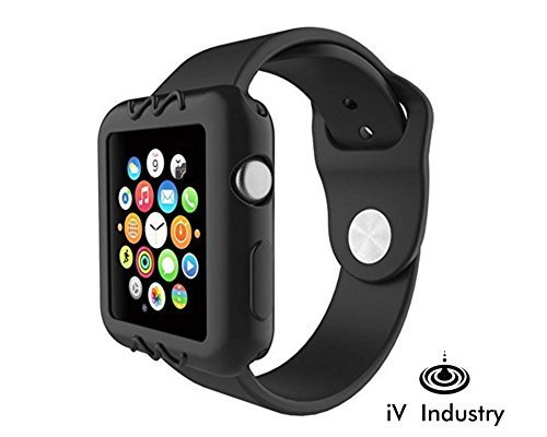 Apple Watch Case, Black 42mm - Resilient Shock Proof Shatter Resistant Ultra Slim Protective Bump Cover for iWatch Series 3 and Series 2 & Series 1 New & Original Soft Silicone Sports Case iV Industry (Rubberized Protector Case Shield)