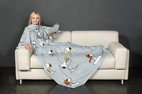 Bianco Kanguru Deluxe Coperta con Le Maniche Peanuts Snoopy in Morbido Pile Unica Poliestere