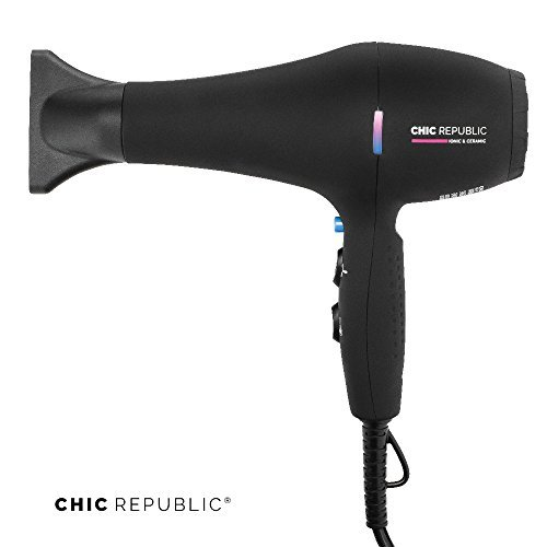 Professional Ionic Hair Dryer - Powerful Ceramic Blow Dryer - Quiet & Fast Hairdryer - Small, Ultra Lightweight Compact for Travel - 2 Diffuser Nozzles - 1875W - Premium Soft Touch Body