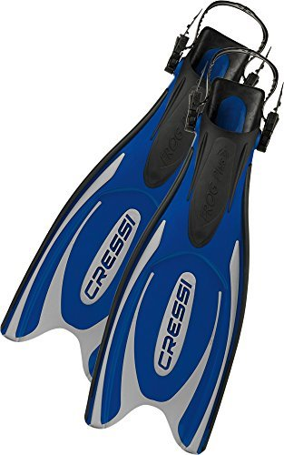 Cressi Frog Plus Open Heel Scuba Dive Fins (Made in Italy), Blue/Silver, XS/S-4.5/5.5 by Cressi