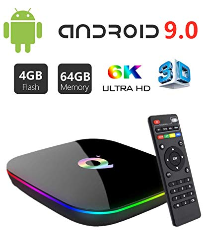 Android Box 9.0 4GB RAM 64GB ROM,DAHOMI Q Plus Smart TV Box H6 Quadcore cortex-A53 Up to 2.4GHz WiFi Support 3D 6K H.265 HDMI 2.0 USB 3.0 Android TV Box