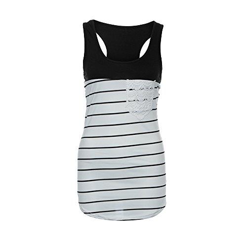 KIKOY Summer Women's Basic Fashion Stripe Lace Pocket Tank Top Sleeveless Tops