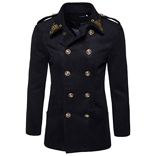 Lemosery Men's Fashion Gold Embroidered Double Breasted Cotton Pea Coat Wool Blend Trench ()