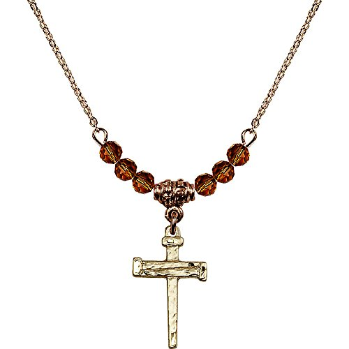 18-Inch Hamilton Gold Plated Necklace with 4mm Yellow November Birth Month Stone Beads and Nail Cross ()