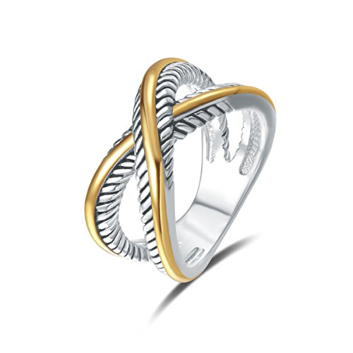 UNY Ring Vintage Designer Fashion Brand Women Valentine Gift Two Tone Plating Twisted Cable Wire Rings (10) ()