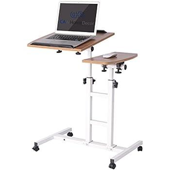 Amazon.com: Adjustable Height Rolling Laptop Desk Table Computer ...