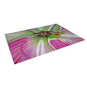 "Kess InHouse Cathy Rodgers ""Pink and Green"" Flower Outdoor Floor Mat/Rug, 8 by 8-Feet"