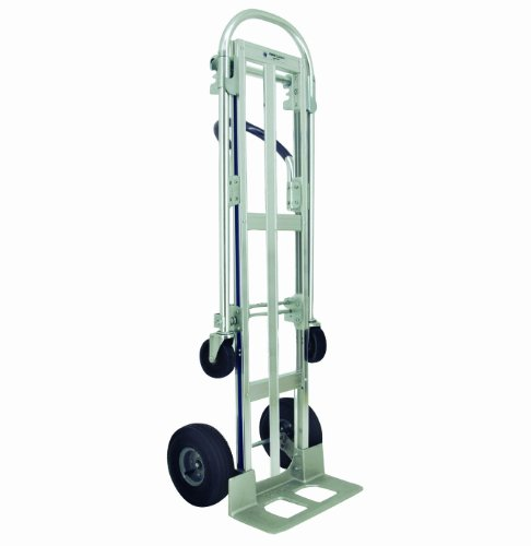 RWM-Casters-Aluminum-Convertible-Hand-Truck-with-Loop-Handle-and-Aluminum-Center-Strap-Pneumatic-Wheels-Extruded-Aluminum-Nose-Plate-500-lbs-Load-Capacity-61-Height