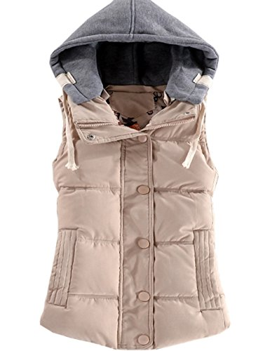 Coat Down Padded Removable Warm Quilted Outwear Gilet Winter Women's Casual Button Autumn Beige Bodywarmer Vest Sleeveless EMMA Hood Jacket SxTRqF