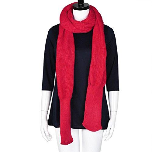 Gift for Friends, Egmy 1PC Women Winter Warm Knit Wool Scarf Long Sleeve Wrap Scarves Shawl (Red)