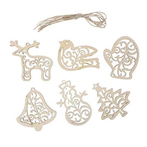 cici store 6 Pcs Christmas Tree Hanging Pendant Ornaments,Wooden Pendants for Decorations Kids Gifts -