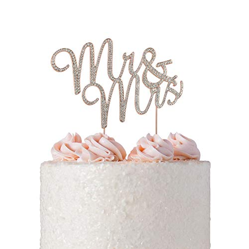 Mr and Mrs ROSE GOLD Cake Topper | Premium Sparkly Crystal Diamond Rhinestones | Wedding Anniversary Bridal Shower Bachelorette Party or Vow Renewal Decoration Ideas | Perfect Keepsake (Mr & -