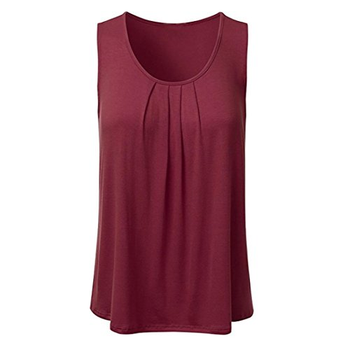 - Lljin Women's Casual Solid Sleeveless Pleated Scoop Neck Loose Tank Top Blouse (Wine Red, XXL)