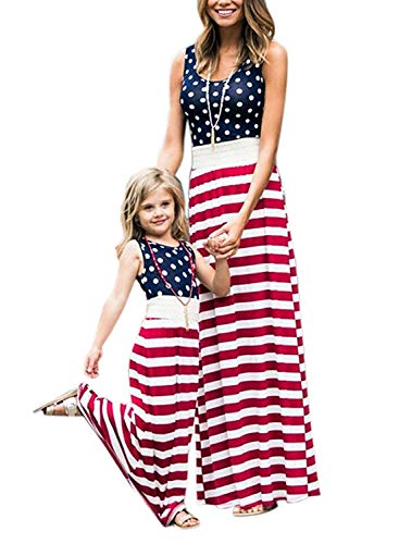 Avidqueen 4th of July American Flag Mommy and Me Matching Dresses,Stripe Stitching Beach Maxi Dress (Flag, Child 6-7T)