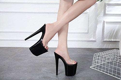 XiaoGao 20 cm Zapatos de tacon super fresco y zapatillas en el escenario,Blanco