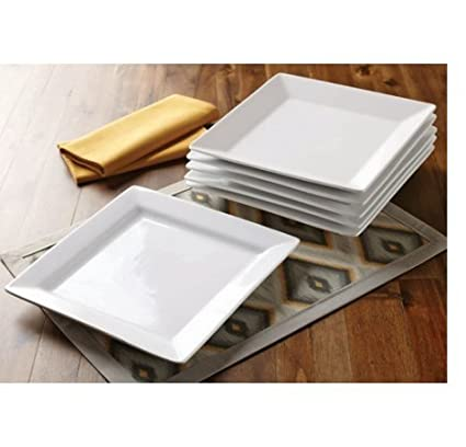 Better Homes and Gardens Square Porcelain Dinner Plates, White, Set of 6