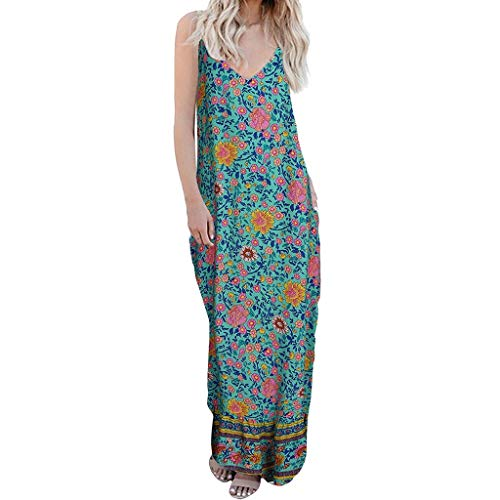 (BODOAO Women's Printed V-Neck Camisole Colorful Maxi Dress Sleeveless Cocktail Flowers Dress Green)