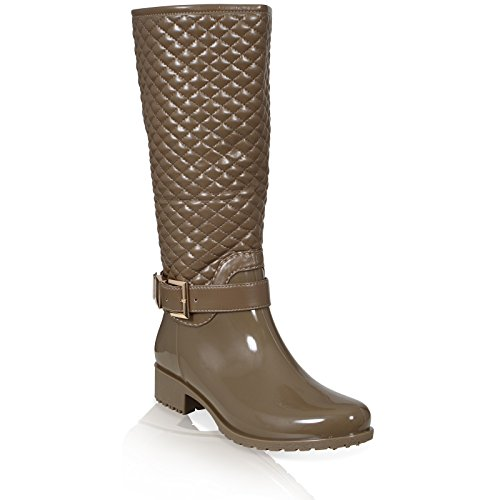 UP 3 BUCKLE 8 WELLINGTON BOOTS QUILT Beige LADIES QUILTED ZIP SIZE WOMENS Dark WELLIES NEW pwqZB0P