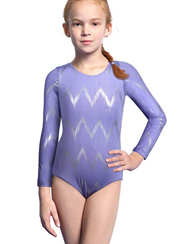 Gymnastics Leotards Long Sleeve for Girls 4t 5t Purple for Halloween Costume]()
