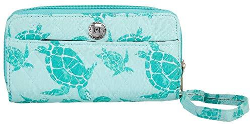(Stone Mountain Seafoam Sea Turtle Double Zip Around Wallet One Size Mint green)