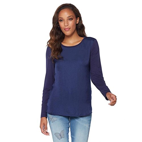 Giuliana G Luxe Chic Satin Knit Top Non-Stretch Woven Jersey Navy L New (Woven Stretch Knit Top)