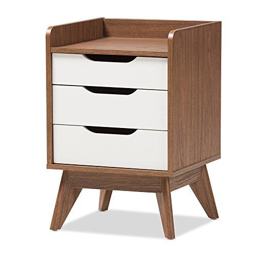 Baxton Studio Maddy Mid-Century Modern Wood 3-Drawer Storage Nightstand, White/Walnut -