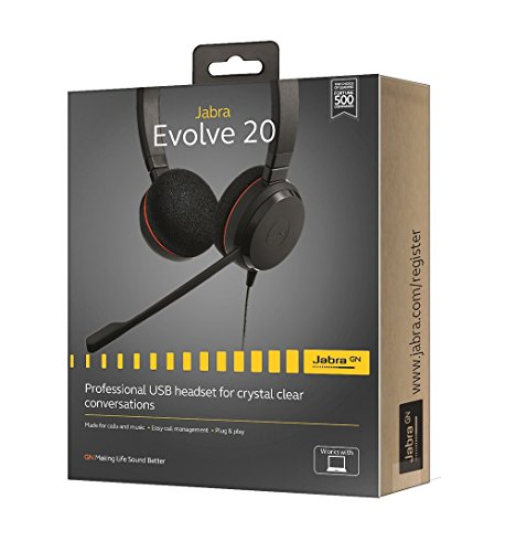 0f8c61af537 Jabra Evolve 20 UC Stereo Wired Headset / Music Headphones (U.S. Retail  Packaging)