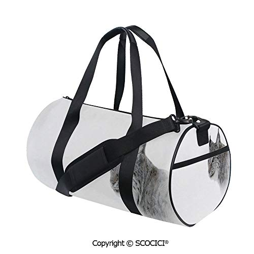 Crossbody Bags for Women Men,Lynx in Central Norway Wild Cat North Cold Snowy Mountain Carnivore PredatorBarrel Bag for Women and Men,(17.6 x 9 x 9 in) Grey White