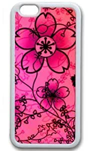 Beautiful Free Floral Textures Customized Rubber White iphone 6 plus Case On Custom Service