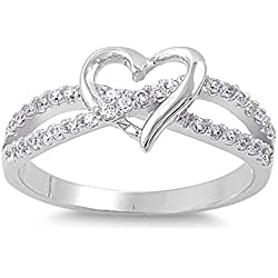 Sterling Silver Women's Flawless Colorless Cubic Zirconia Infinity Knot Wedding Promise Heart Ring Valentine's Day gift
