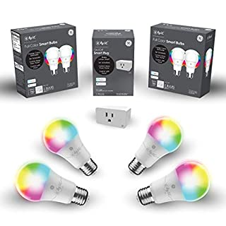 C by GE Smart Bundle Pack with 4 Smart Bulbs and Smart Plug (4 LED A19 Full Color Bulbs + On/Off Smart Plug), Works with Alexa and Google Assistant, WiFi Enabled