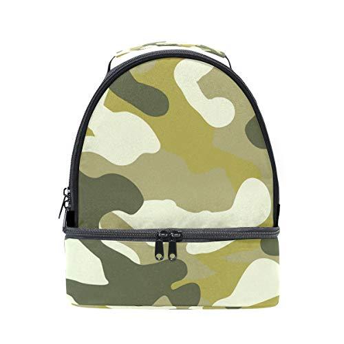 Alinlo Motif camouflage Boîte à lunch Sac isotherme Cooler Tote avec bandoulière réglable pour Pincnic à l'école