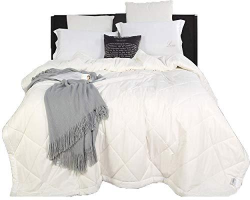 100% Natural Australian Wool Hypoallergenic Cotton Box Stitched Duvet Insert/Comforter, White (Queen: 88