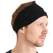 Casualbox mens Elastic Bandana Headband Japanese Long Hair Dreads Head wrap Black