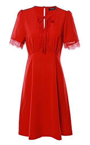 Avoir Aime Vintage Inspired Classic Chiffon Short Sleeve Mini Dress with Lace and Keyhole - Red, L